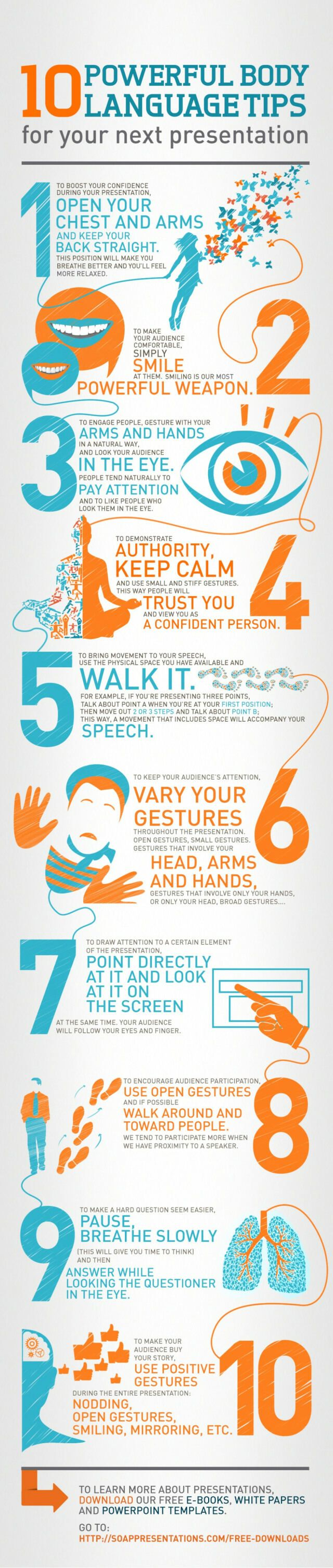 Body language tips for presentations   If you're not feeling overly confident, 'fake it til you make it'.