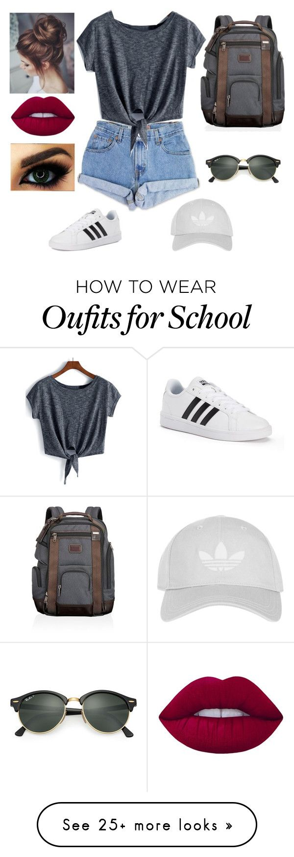 """#a normal day at school"" by al4xa on Polyvore featuring Levi's, Topshop, adidas, Ray-Ban, Lime Crime and Tumi"