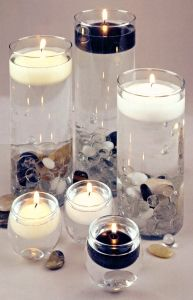 Navy blue and white candle ideas