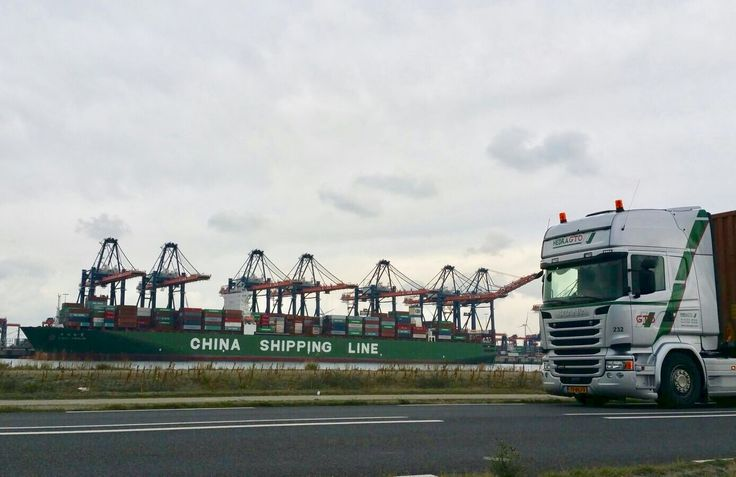 just another day in the office #container #transport #europe #euromax China Shipping Container Lines ECT Euromax Terminal Scania Hoogvliet