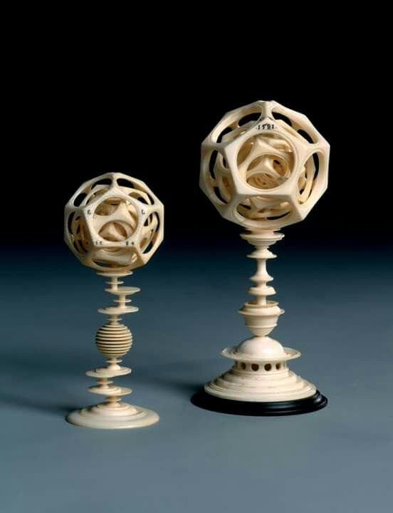Two ivory polyhedrons, 1581-1584 AD   The creation of these pieces called for the utmost skill and a thorough knowledge of mathematics and perspective. Anyone who could produce a piece of this kind on the lathe had outstanding gifts and his skill was beyond question. Carved between 1581 and 1584 by Egidius Lobenigk, and they're now at the Dresden State Art.