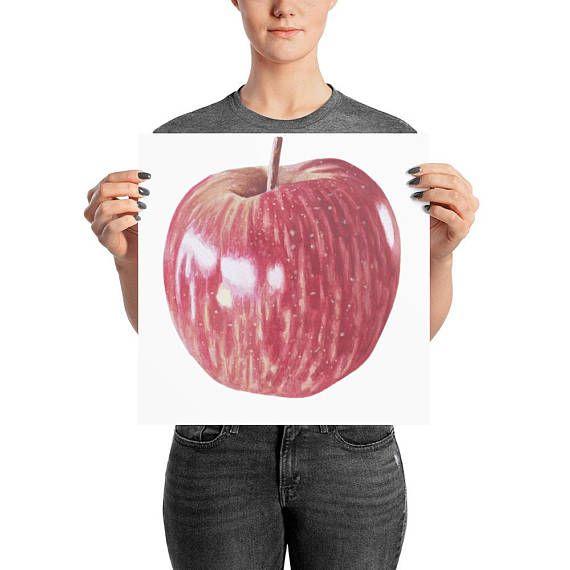Apple watercolor art print/ apple art decor/ realistic painted