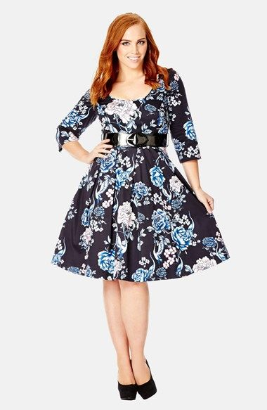 City Chic 'Wild Crane' Belted Print Fit & Flare Dress (Plus Size) available at #Nordstrom