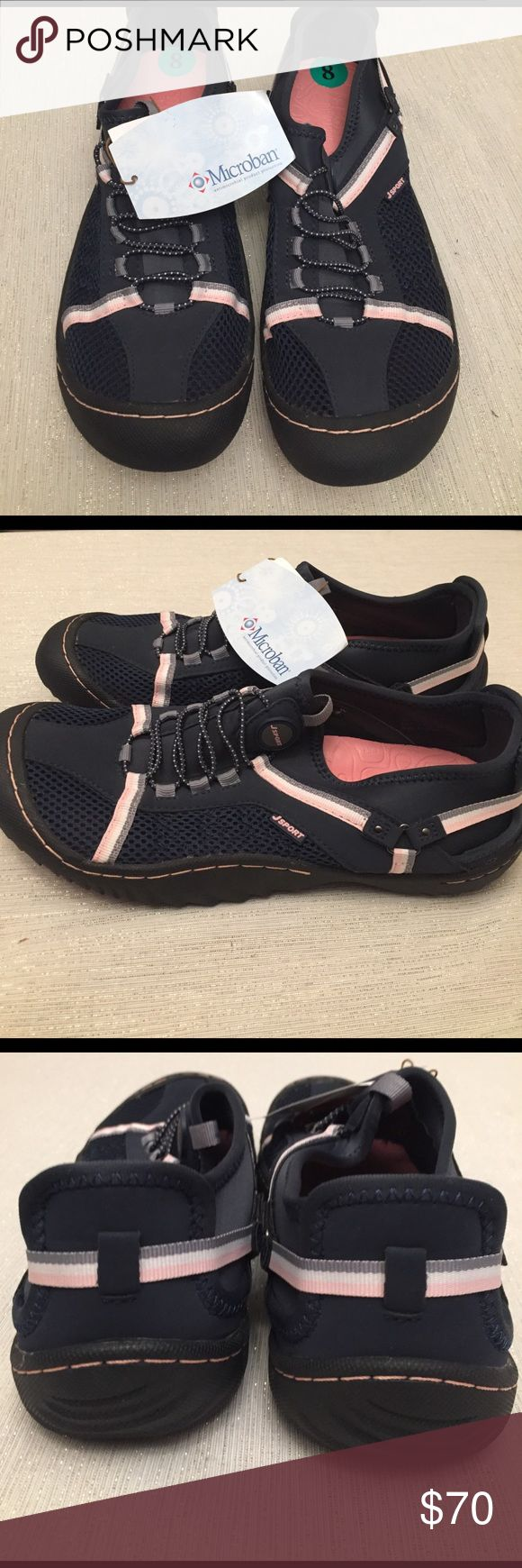 J Sport J-41 Tahoe Sport Hiking Vegan Sneaker Women's size 8. NWT. Navy blue/pink color. Mid ankle height. Treaded outsole. Vegan. Water ready. Non marking, partially recycled compressed rubber outsole. Slip on, bungee lace design. Jeep engineered and trail rated. Retail $90 J Sport Shoes Athletic Shoes