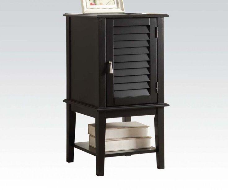 Attractive Hilda Black Wood Side Table W/1 Door