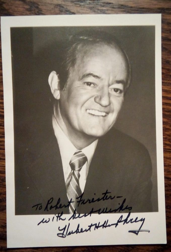 Hubert Humphrey Autograph / Signed & Inscribed B/W photo & Senate Letter