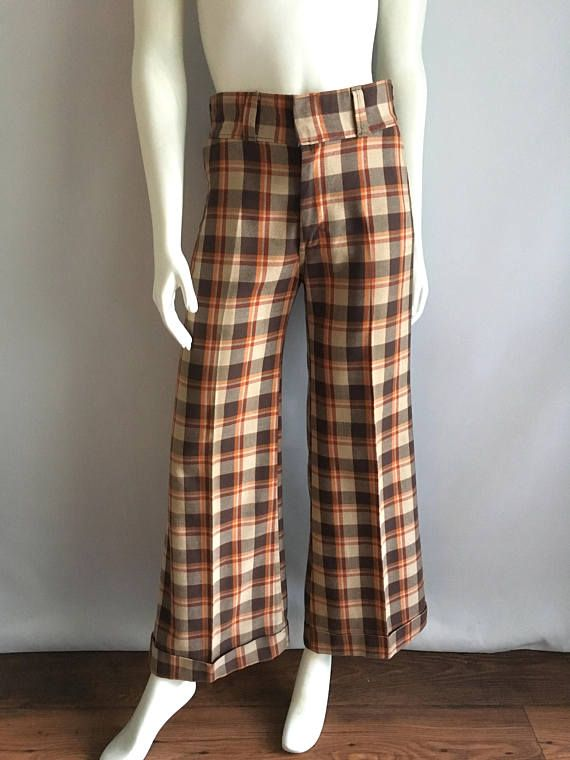 05334104aaa Vintage Unisex 70 s Checkered Bell Bottoms Pants Brown