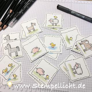"""Memory - Spiel für Kinder ganz einfach selbst gemacht mit Stampin´Up Stempelset """"Tierische Grüße"""""""