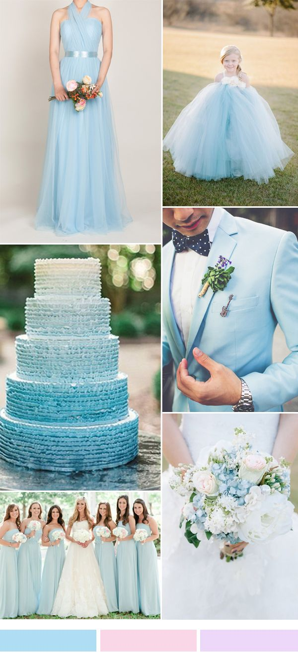 light sky blue wedding color ideas and tulle bridesmaid dresses for sping summer weddings 2016