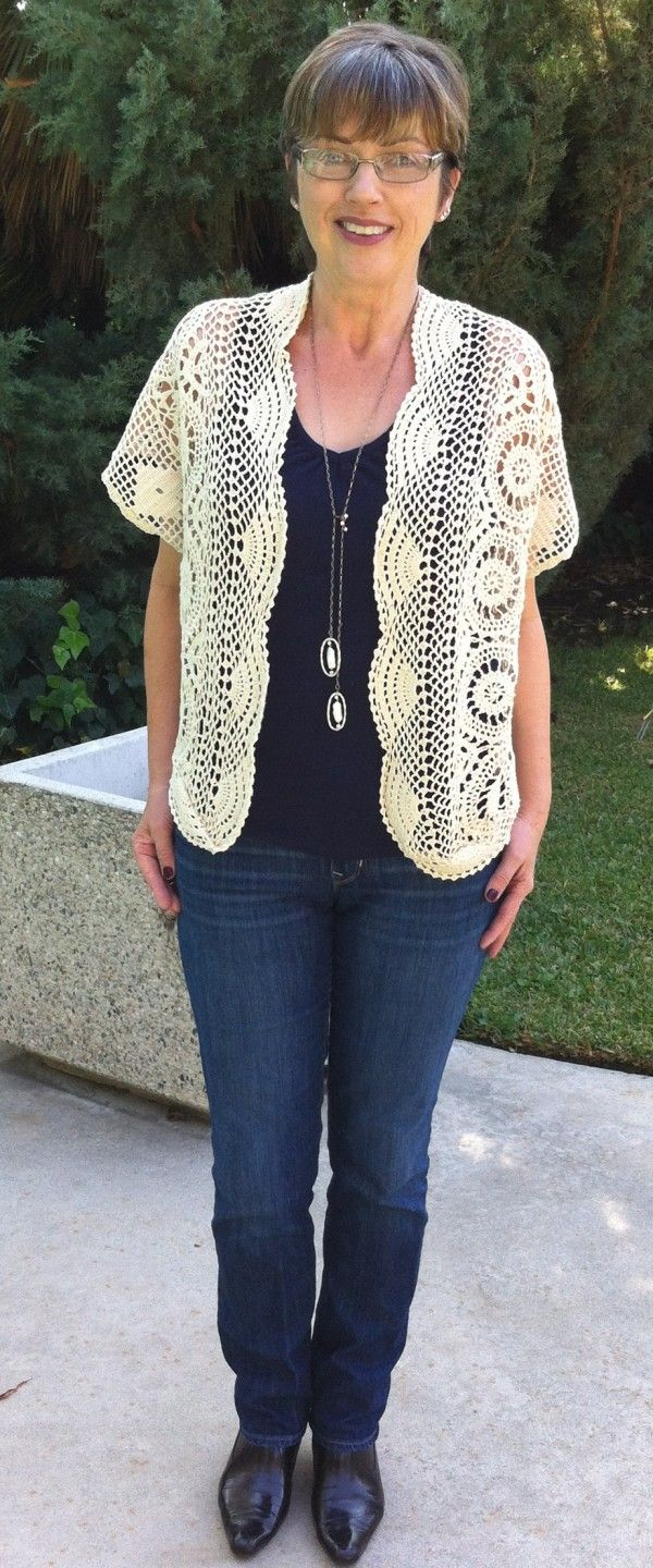 Sweater Refashion from old crochet table cloth