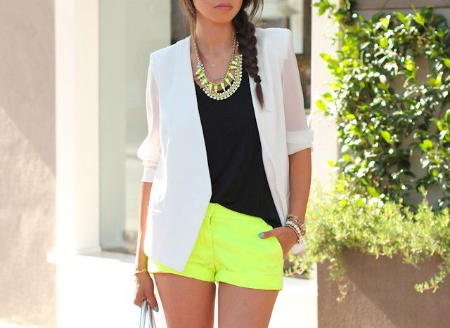 Neon Spike Necklace, Neon Yellow Shorts