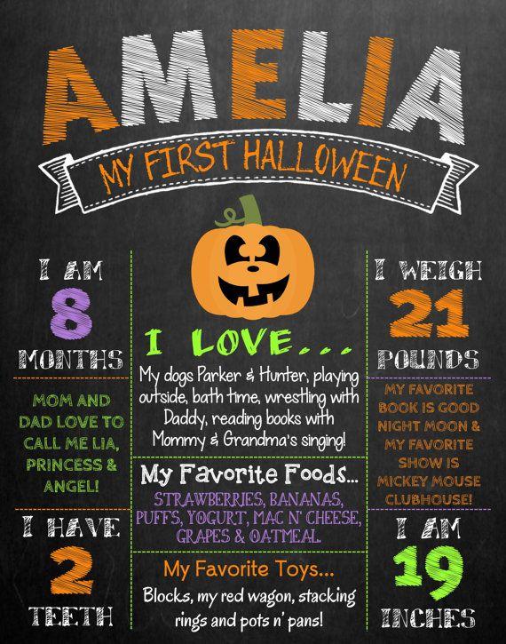 Baby's First Halloween Chalkboard Photo Prop by MMasonDesigns