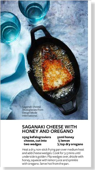 Saganaki cheese with honey. Clipped from InStyle using Netpage.