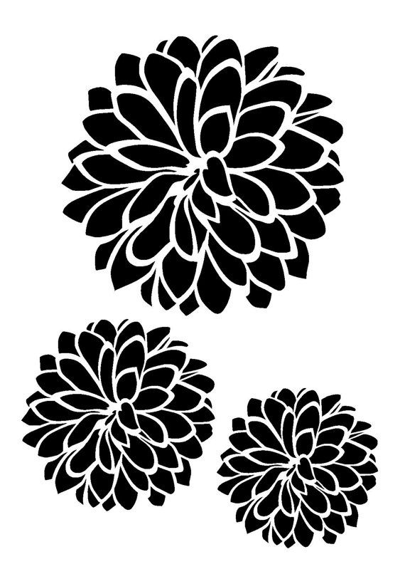 11.7/16.5 Dhalia flower stencil 3 flowers. A3. por LoveStencil