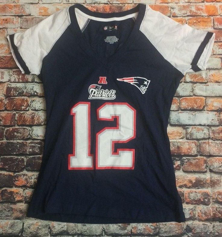 NFL Team Apparel Women's Size Small Number 12 Tom Brady Patriots fitted T-Shirt #NFL #NewEnglandPatriots