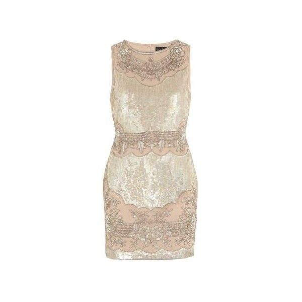 Champagne sequined dress | Beth | Pinterest | Σαμπάνια, Πάρτι και... ❤ liked on Polyvore featuring dresses