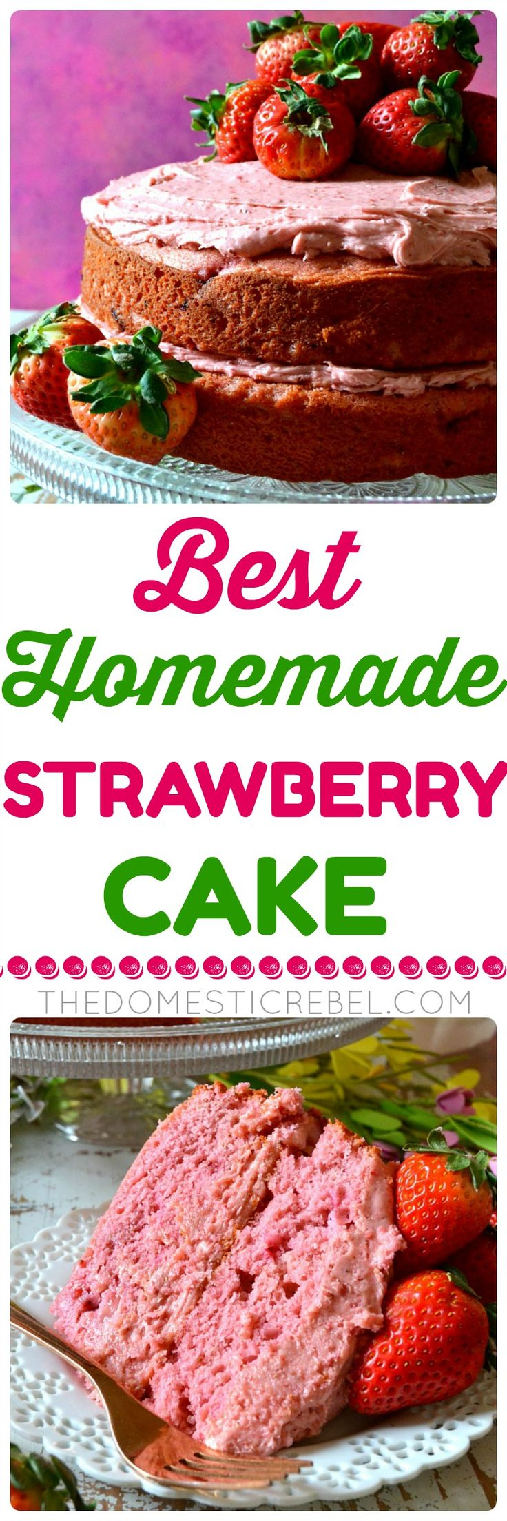 This is the BEST Homemade Strawberry Cake I've ever tried! Moist, fluffy layers of flavorful strawberry buttermilk cake layered with a decadent strawberry cream cheese frosting. So delicious and easy! ~ The Domestic Rebel