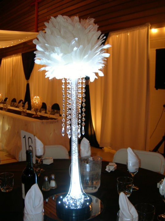 Our feather ball and eiffel tower vase centerpiece new