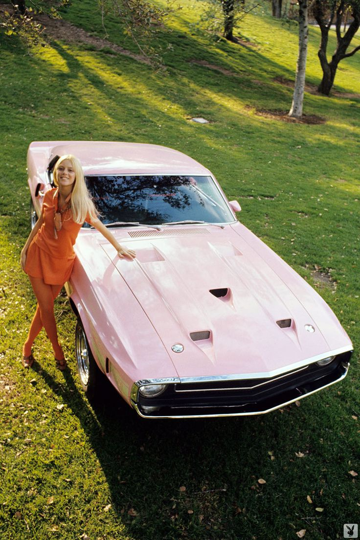 This Shelby Mustang GT-500 (fastback 428 Cobra Jet) was given to Playboy model Connie Kreski (in the pic) as part of her reward for b...