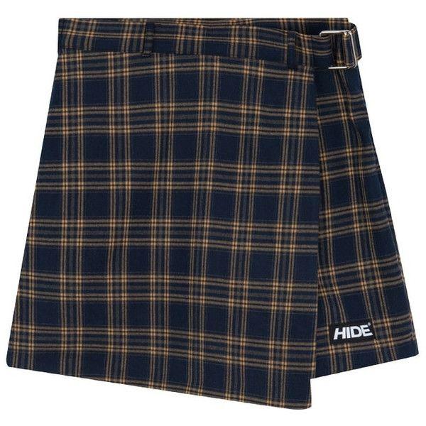HIDEBelted Check Skort | mixxmix ($46) ❤ liked on Polyvore featuring asymmetrical skort, plaid skort, golf skirts and plaid golf skirt