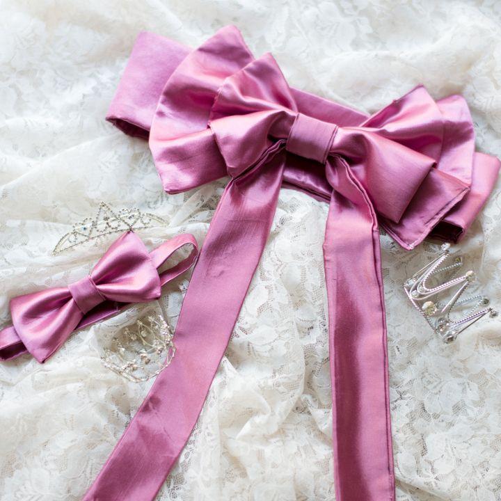 ドレス サッシュベルトと蝶ネクタイお揃い お色直し