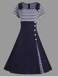 A Line Striped Plus Size Vintage Dress - PURPLISH BLUE
