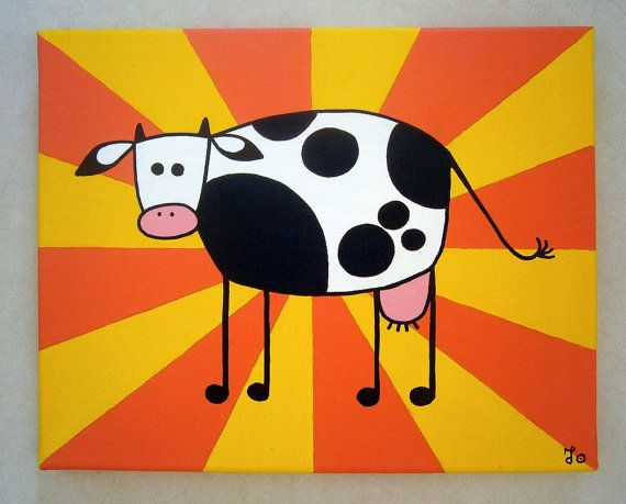 Wow Cow ~ Acrylic painting on canvas by MadCowzArt on Etsy, €15.00  Cow Art