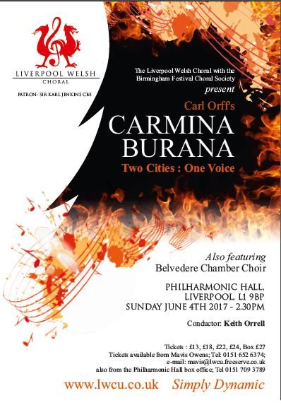 Birmingham Festival Choral Society and Liverpool Welsh Choral are doing a joint concert in Liverpool's Philharmonic Hall on Sunday!
