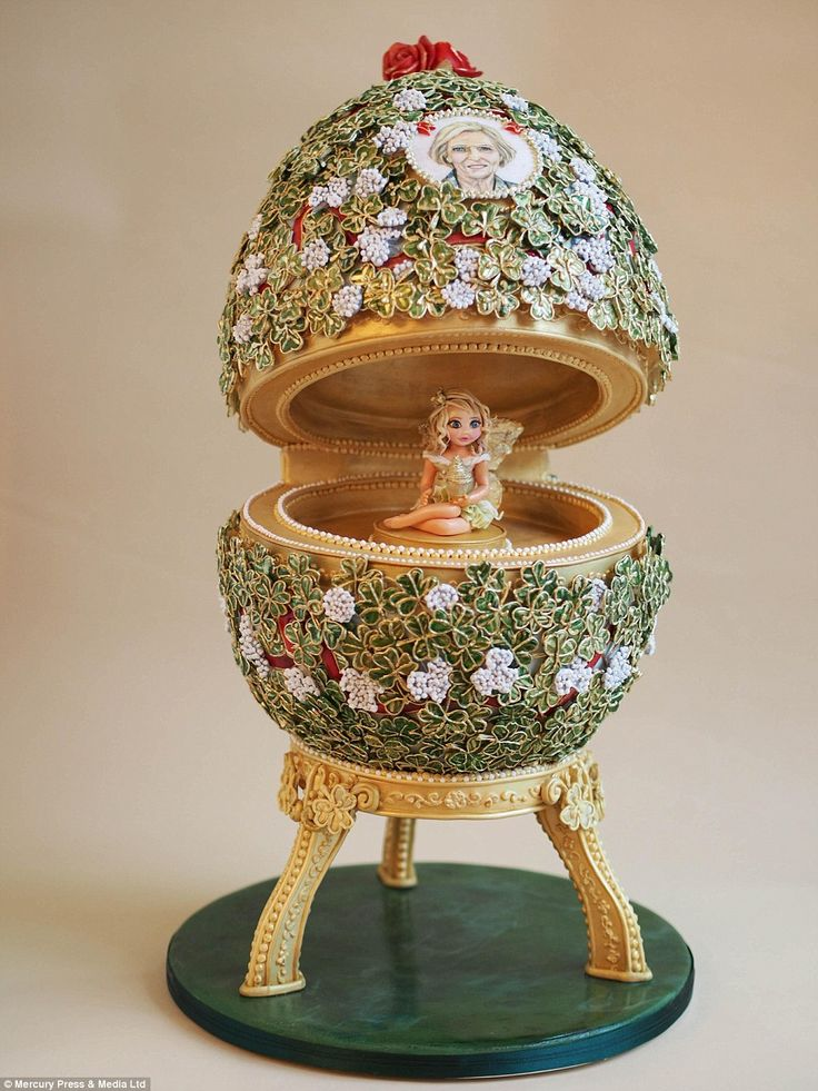 A fairy sits on a pedestal in the middle of this cake made by by Suzanne Thorp of The Fros...