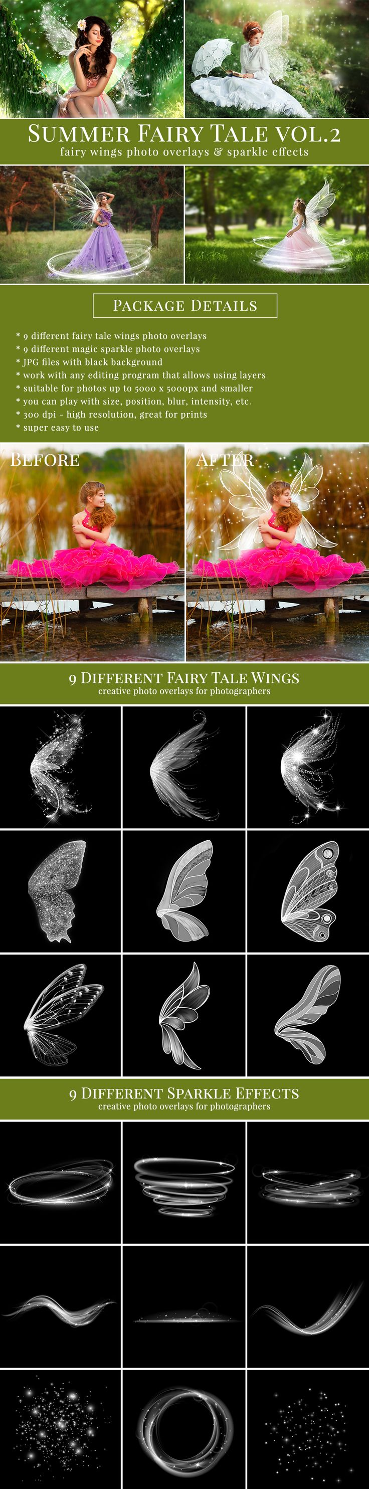 Creative fairy wings photo overlays with sparkle effects overlays. Great for mini sessions. Professional photo overlays for Photoshop, Zoner, Gimp etc. Super easy to use, very pretty result just in one minute. Photo overlays for creative photographer from Brown Leopard.