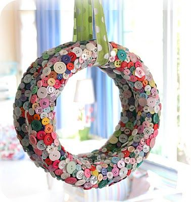 multi-colored button wreath with letter in middle  great for above the girls' bed or on door to their rooms or closets