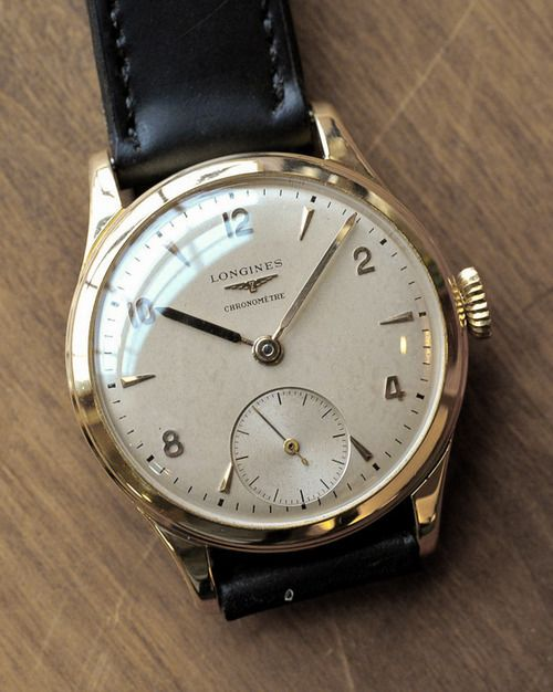 Brilliant Vintage Longines Manual Wind Chronometer In 18K Solid Yellow Gold Circa 1950s