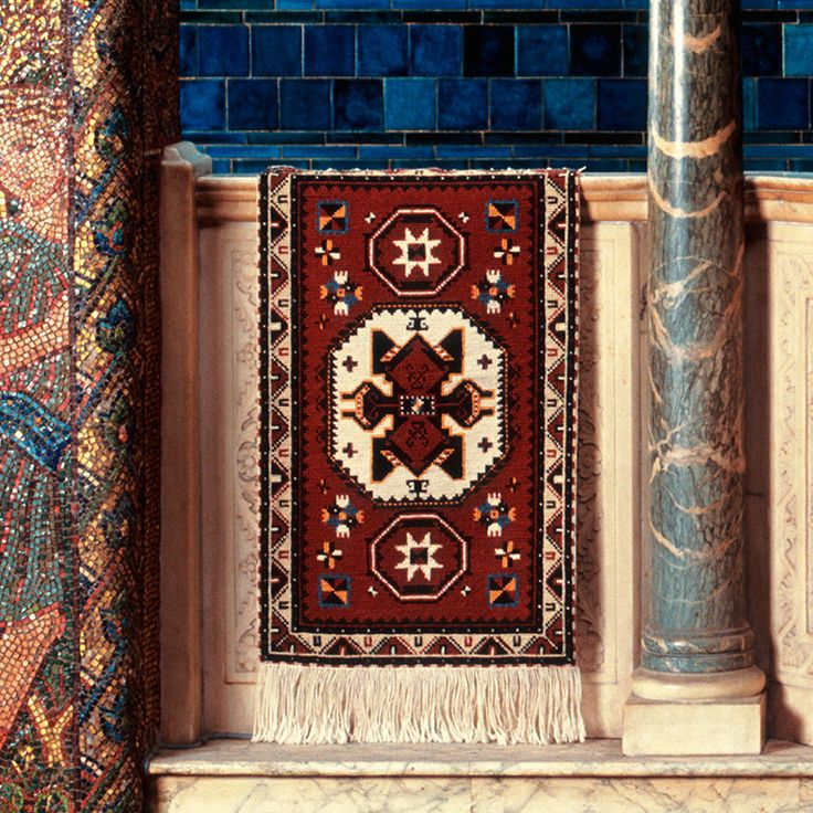 Kazak Rug. Another great Beth Russell design, shown here in Leighton House, Kensington.