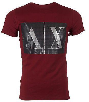 ARMANI EXCHANGE AX Mens T-Shirt BURGUNDY