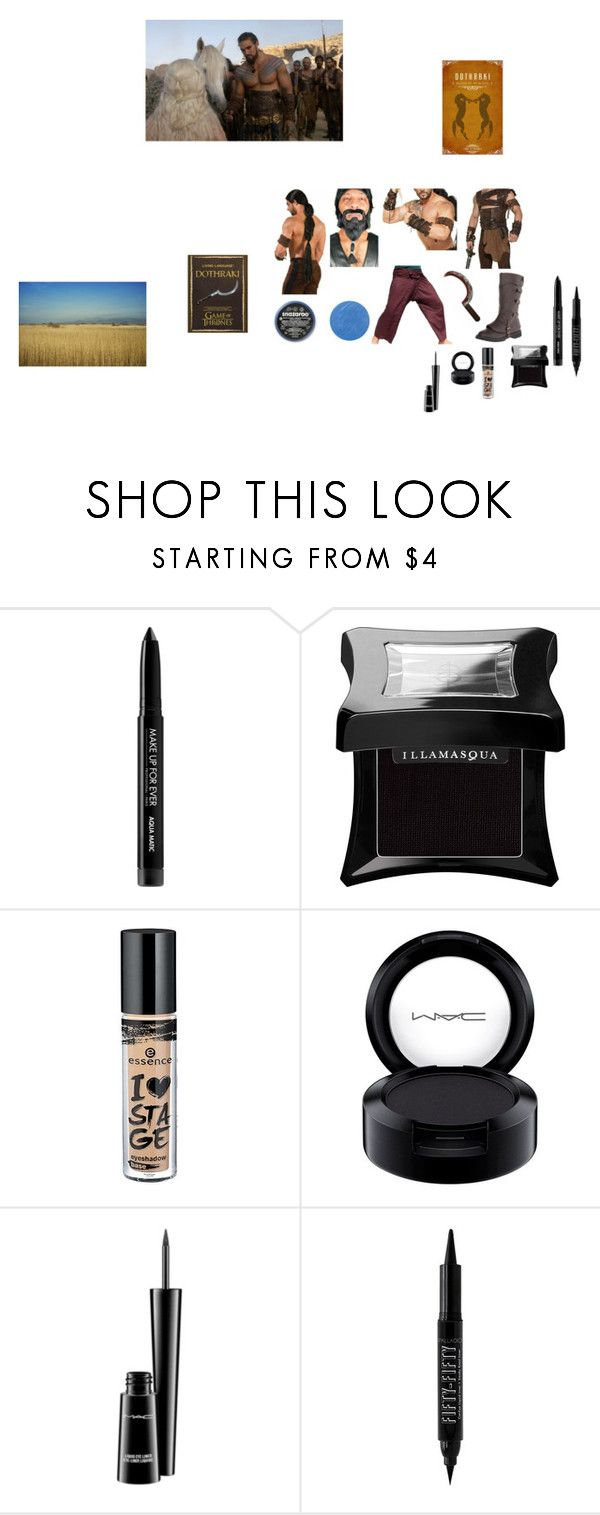 """khal drogo"" by effyswanhaze ❤ liked on Polyvore featuring MAKE UP FOR EVER, Illamasqua, Forever 21, MAC Cosmetics, men's fashion and menswear"