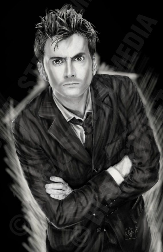 This is amazing fan art! Doctor Who - The 10th Doctor - David Tennant - 11 inch x 17 inch Semi-Gloss Poster Print.