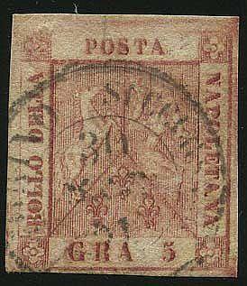 "5 gr. (9) annullato con C2 ""Torino Succursale-30 MAR 1861"". Molto raro. Em. D., Cert. Sor."
