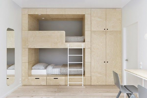 It's not difficult to see the inspiration from both Japanese and Scandinavian styles in the home. This view of the kids' room especially has the custom built bunkbeds that easily harken to the minimalism of Japanese homes. Although in some areas of Japan, 95 square meters is more than anyone could dream of.
