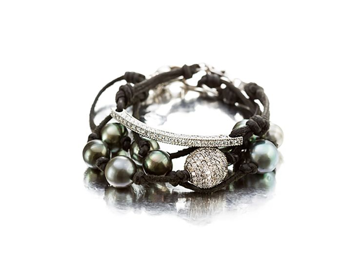 Diamond Bracelet and Tahitian Pearl Bracelet