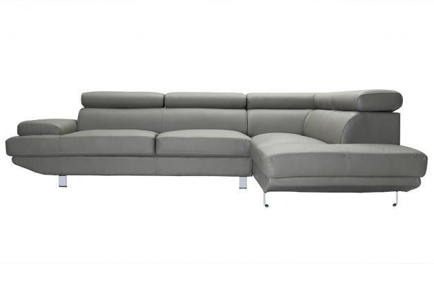 Canapé d'angle en cuir gris JENKINS avec têtières ajustables prix promo Canapé Miliboo 1 499,00 € TTC Prix conseillé : 1 699 €