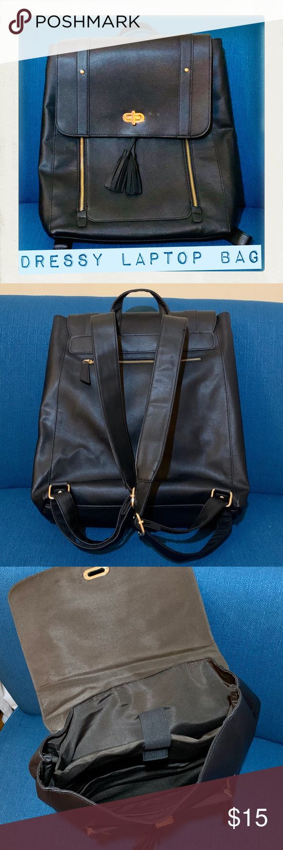 Faux Leather Laptop Backpack Black faux leather ba…