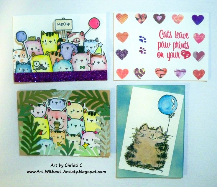 Janis is turning 60 this month and is celebrating all month long with some ATCs :) #cats #CatATC #MamaElephant #PennyBlack
