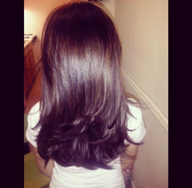 Long Layered Haircut! Blow Dry with lots of volume!  I like how the back is straight cut versus going into a v shape
