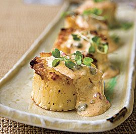 Grilled Scallops with Rémoulade SauceNew Orleans, Rémoulad Sauces, Remoulade Sauces, Seafood, Sea Scallops, Dipping Sauces, Grilled Scallops, Cooking, Appetizers Recipe