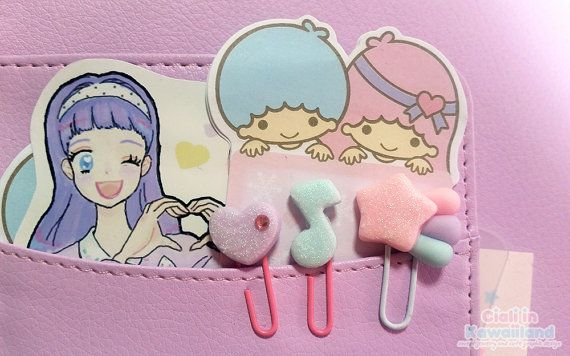 Lovely pastel paper binder clip for planner a5 a6 personal
