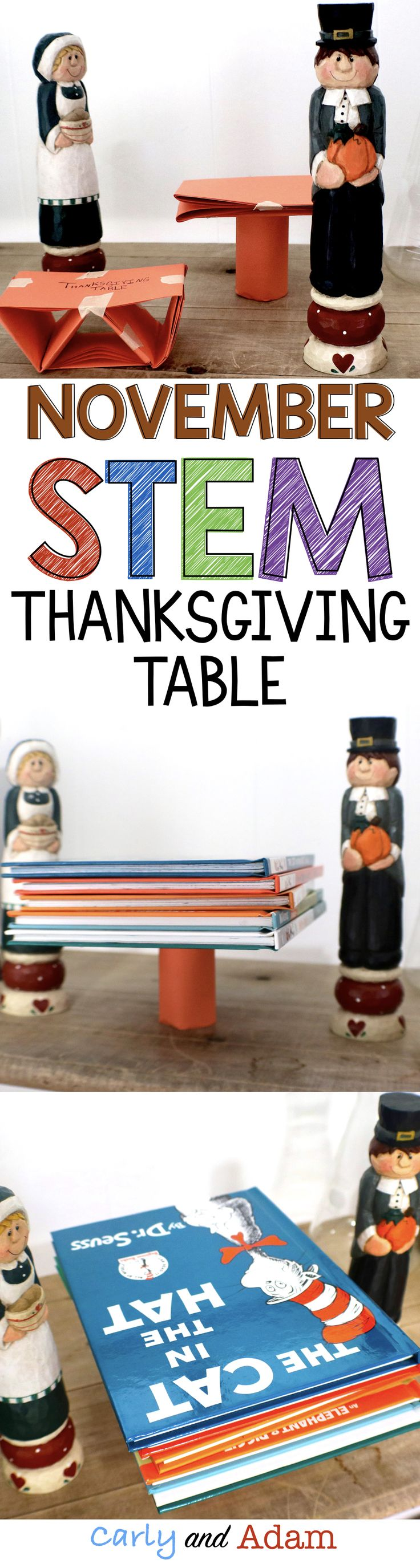For this STEM activity students must build a table for Thanksgiving dinner out of paper. The table must be able to support a stack of books.