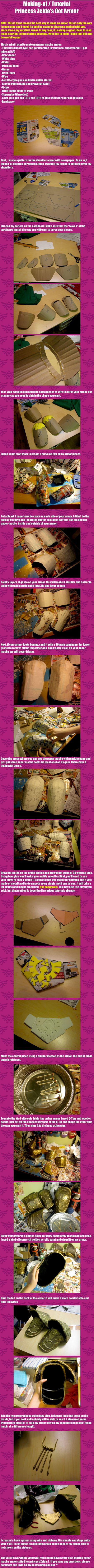 Making-of / Tutorial of Princess Zelda's OoT armor by ~Kisshu-Neko on deviantART (Great tutorial for making armor with papier-mâché!)