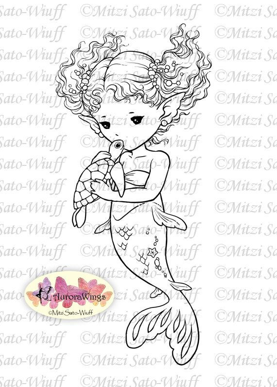 Digital Stamp – Sea Turtle Kiss – Little Mermaid Holding a Baby Turtle – Fantasy Line Art for Cards & Crafts by Mitzi Sato-Wiuff – Annnie Rabouille / martin