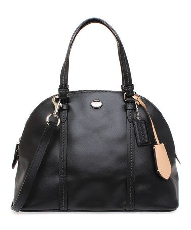 Black Domed Peyton Cora Leather Satchel by Coach #zulily