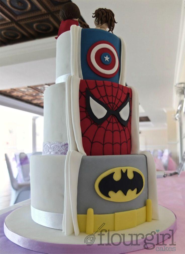 Secret Superhero Wedding Cake. What a terrific idea, reminds me of superman pulling his shirt open
